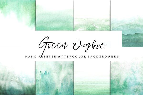 Green ombre watercolor
