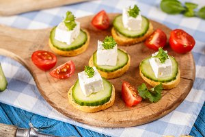 Sandwiches with feta cheese