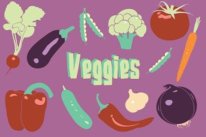Healthy Vegetables, Vector Clip Art