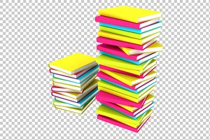 Books stacks - 3D Render PNG