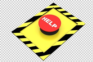 Help Button - 3D Render PNG