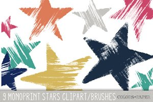 Handmade Monoprint Stars Clipart