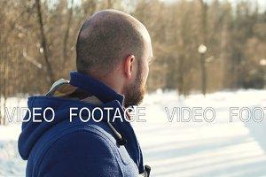 bald young man portrait in winter park