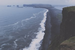 Dark Coastal Landscape in Iceland