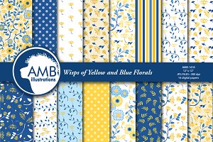 Floral Paper in Blue and Yellow 1418
