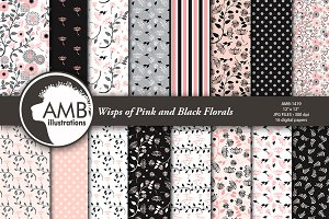 Floral Papers in Pink and Black 1419