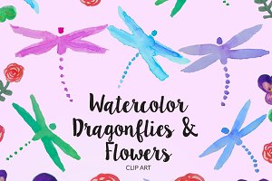 Watercolor Dragonflies & Flowers