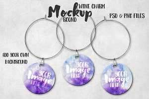 Sublimation round wine charm mockup