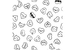 Heart emotions set. Vector background