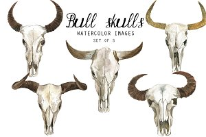 Watercolor Bull Skulls