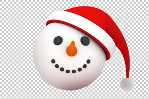 Snowman Face - 3D Render PNG