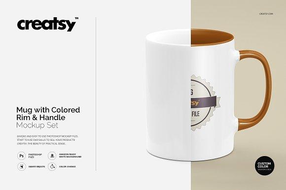 Download Mug Colored Rim Handle Mockup Set