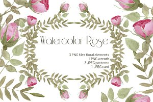 Watercolor Floral Roses Set