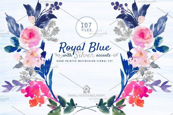 Floral Royal Blue Wedding Background Design Png Menu