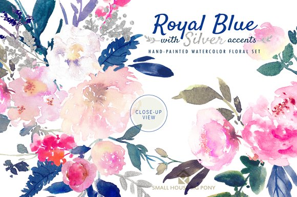 Royal Blue With Silver Illustrations Creative Market