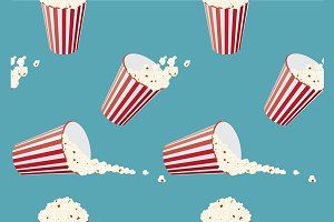 Seamless pattern bucket of popcorn