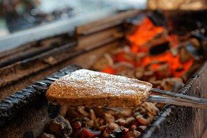 Luleh kebab, minced meat on spits