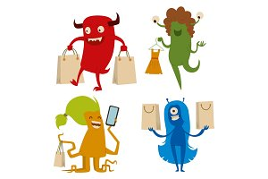 Cartoon cute monster shopping vector character illustration.