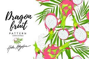 Dragon fruit. Summer exotic pattern