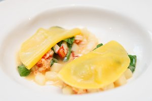 Ravioli-like dish with crayfish