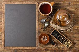 Tea ceremony and blackboard.