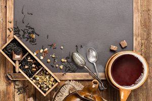 Hot tea, top view.