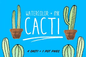 Watercolor and Ink Cacti