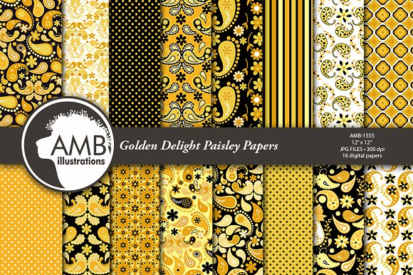 Golden Paisley Papers AMB-1555