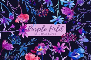 Watercolor Purple field Dark Flowers