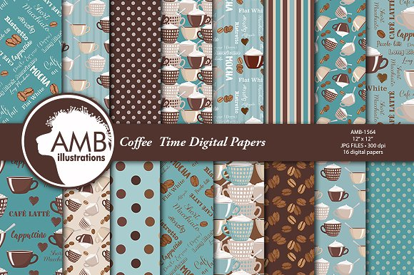 Coffee Time Digital Papers AMB-1564