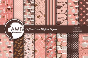Cafe in Paris Digital Paper AMB-1565