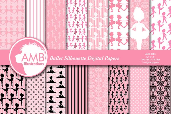 Ballerina Silhouette papers AMB-158…