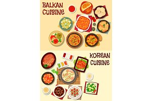 Korean and balkan cuisine dinner icon set