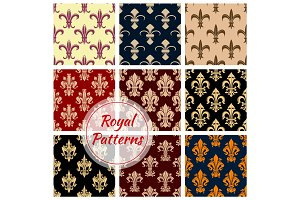 Fleur-de-lys french royal seamless pattern set