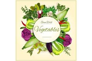 Vegetable, mushroom and salad leaf poster design