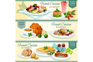 French cuisine popular food banner set design