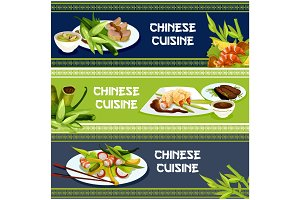 Chinese cuisine seafood and meat dishes banner set