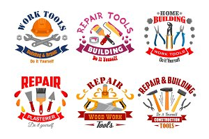 Repair tool and building instrument badge set