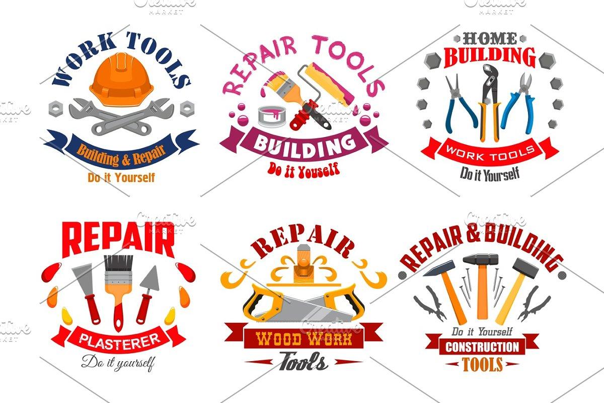 Repair tool and building instrument badge set