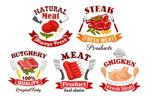 Chicken, beef, pork meat sign for butchery design