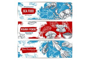 Seafood and japanese cuisine restaurant banner set