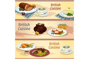 British cuisine main and snack dishes banner set