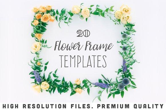20 flower frame templates cards