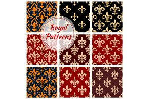 Royal floral pattern fleur-de-lis heraldic flowers