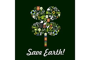 Save Earth poster, environment protection symbol