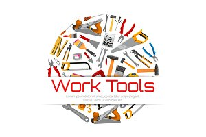 Work tools poster of carpentry repair instruments