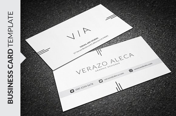 Clean elegant business card business card templates creative market fbccfo Image collections