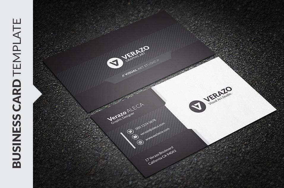 Black white business card business card templates creative market wajeb