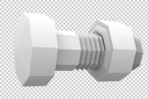 Nut & Bolt - 3D Render PNG