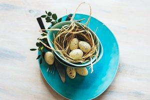 Easter festive table setting
